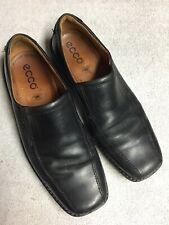 Ecco Mens Black Leather Slip On Light Casual Shoes Size Sz 45 U.S. 11.5