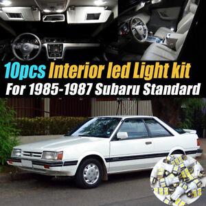 10Pc Super White Car Interior LED Light Bulb Kit for 1985-1987 Subaru Standard