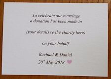 50 Wedding favour charity donation cards with heart