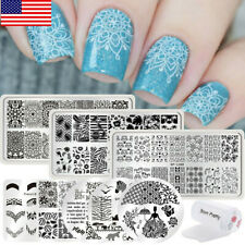 BORN PRETTY Nail Stamping Kit Set French Flower Stamping Plates Templates Tools