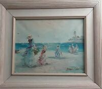 Original Marie Charlot Signed 8×10 Oil on Canvas Pastel Wood Framed Women