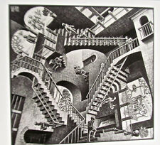 M C Escher  Relativity Poster Surreal Room with Stairs 14x11 Offset Lithograph