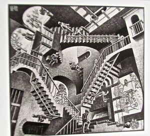 M C Escher  Relativity Poster Surreal Room with Stairs 16x11 Offset Lithograph