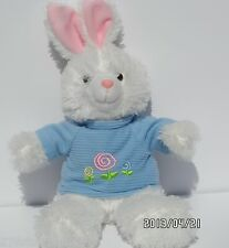 "Dan Dee Easter Bunny Rabbit 15"" Long Seated White Plush W/Pink Ears Blue Sweater"