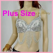 【PLUS SIZE】 Belly Dance Bra Sequined Beaded Top Sexy Dancing Costume AR03/XL