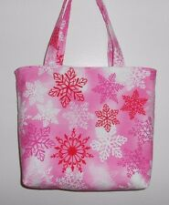 Handmade Christmas Snow Flakes in Red, Pink, & White Tote Purse Bag