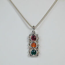 "Sterling Silver Traffic Light Charm Necklace on 16"" Snake Chain Free U.S. Ship"