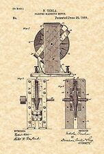 Patent Print - Nikola Tesla Electro Magnetic Motor 1889. Ready To Be Framed!