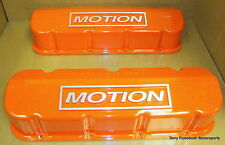 RPC R7652 BB Chevy Racing Tall Valve Covers, Limited Edition Motion, Orange,