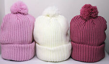 Ladies Chunky Knitted Bobble Hat Beanie Woolly Hat Pink White Stocking filler