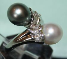 16 Grams Solid Platinum Black & White Pearl with Baguette Diamonds Bypass Ring