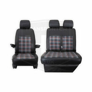 VW Transporter T5 2003-09 Tailored Black And RED GTI Style Seat Covers 2 + 1