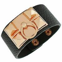 Black Faux Vegan Leather Rose Gold Spikes Ring Large Wristband Womens Bracelet