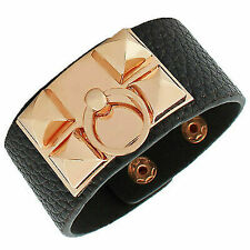 Black Faux Vegan Leather Rose Gold Spikes Ring Large Wristband Womens Bracelet