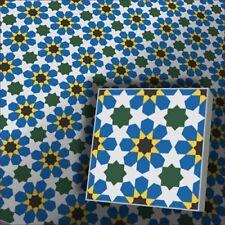 Zementfliese mit Ornament Florina blau - Vintage Jugendstil Retro Fliesen Boden