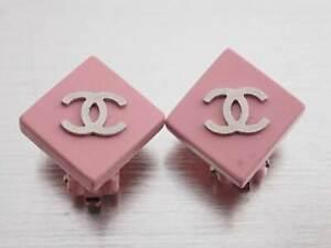 Auth CHANEL 04P CC Logo Earrings Pink Enamel/Metal - e46620f