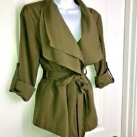 Ya Los Angeles Olive Green Wrap Jacket Sz M Belted Roll Tab Sleeves Wide Collar