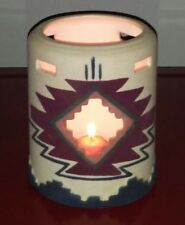 Native American Sand painted Cutout Tea Light Lantern Candle Pottery Signed LOOK