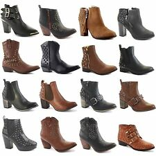 Buckle Block Synthetic Ankle Boots for Women