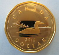CANADA 2015 $1 GOLD PLATED 99.99% PROOF SILVER LOONIE HEAVY CAMEO COIN
