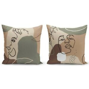 Set Of 2 Abstract Face Line Art Decorative Throw Pillow Cushion Covers 18x18