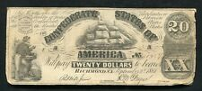 T-18 1861 $20 Twenty Dollars Csa Confederate States Of America Currency Note