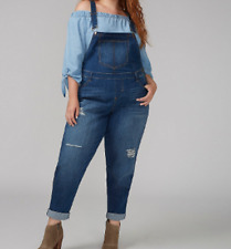 Lane Bryant Online Exclusive BANDANA-BACKED DESTRUCTED DENIM OVERALLS SIZE 20