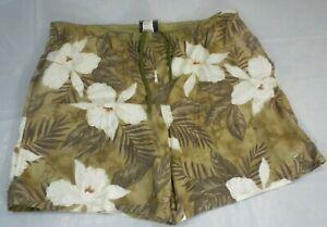 Speedo Mens Swim Trunks Large Green White Tropical Cargo Mesh Lined Shorts Suit