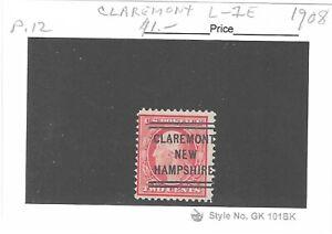 JimbosStamps, U.S .precancels 1908 issue 2 ct. Wash., CLAREMONT NEW HAMPSHIRE