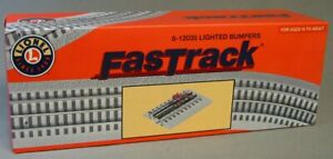 LIONEL O GAUGE FASTRACK LIGHTED TRACK PAIR 2 BUMPERS train fasttrack 6-12035 NEW