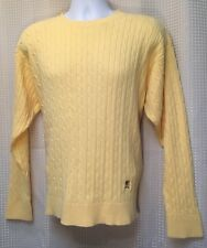 Tommy Hilfiger Sweater Pull Over Cable Knit Yellow W Crest Classic Neckline Sz L