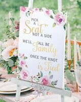 PICK A SEAT NOT A SIDE WEDDING SEATING SIGN FAMILY WATERCOLOUR CANVAS CEREMONY