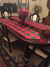 2  Christmas Table Runners Cotton Park Cottage Linens Inc Red Green Gold Lurex
