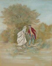 Henriette Richard - Belle peinture romantique sur soie (?) signée datée 1883