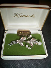Vintage Krementz pearl pin brooch original box