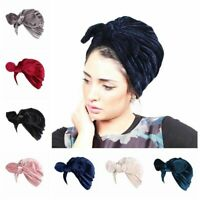 Turban Hair Accessory Head Wrap Chemo Cap Indian Hijab Velvet Hat Bowknot Cap