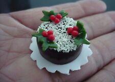 Chocolate Christmas Cake Dollhouse Miniature Food Bakery Holiday X'mas -6