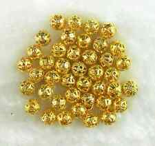 100 Pcs Gold Plated Metal Filigree Spacer Loose Beads 6MM