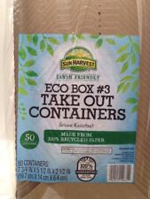 "#3 Disposable Take Out Container-Sun Harvest Eco Box-7.75""X5.5""X2.5""-200 COUNT"