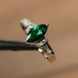 2Ct Marquise Cut Emerald & D/VVS1 Diamond Solitaire Ring 14K White Gold Plated