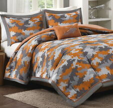 4pc Full/Queen ORANGE CAMO COMFORTER SET : LANCE CAMOUFLAGE GRAY MILITARY HUNTER