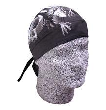 Grey Black White Dragon Doo Rag Durag Head Wrap Skull Cap Sweatband Biker