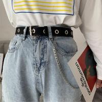 Women Punk Chain Fashion Belt Adjustable Waistband With Eyelet Chain Belt Sim RD