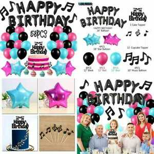 Music Party Decorations W Balloons & Cake Topper.Music Note For Boys Girls.Tik T