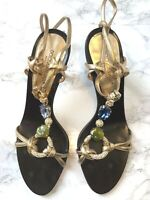 Women's Dolce & Gabbana gold rhinestone & crystal mid heel strappy sandals UK 5