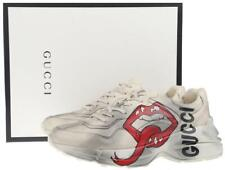 NEW GUCCI MEN'S RHYTON MOUTH PRINT WHITE LEATHER SNEAKERS SHOES 9.5/ US 10.5