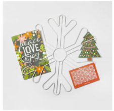 NEW Snowflake White Metal Christmas Wall Mount Card Picture Holder Decor