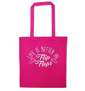 Life is better in flip flops, tote bag Summer beach holidays sea sand sassy 2884