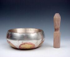 Vintage Tibetan Copper Gold Gilt Chakra EXTRA LARGE Singing Bowl & Striker #R1