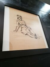 Unframed 19X16 Charcoal Drawing Sketch on Brown Paper of Woman